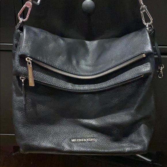 Michel Kors Black Leather Double zip pocket bag